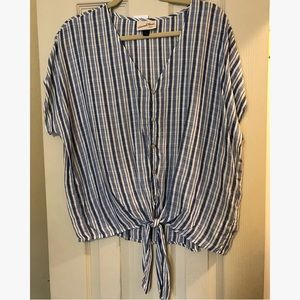NWT Target Tie Front Blue Stripe Top